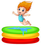Cartoon girl jumping an inflatable pool. Illustration of Cartoon girl jumping an inflatable pool stock illustration