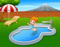 Cartoon girl jumping in swimming pool Royalty Free Stock Photo