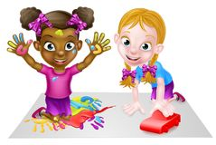Cartoon Girls Playing with Car and Painting. Cartoon girl kids playing with toys, with paints and toy car Stock Image