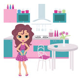 Cartoon girl on kitchen bears a teapot. The color full image, no gradient, vector Stock Images