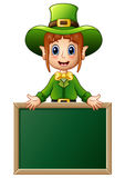 Cartoon girl Leprechaun presenting with chalkboard sign Stock Photo