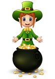 Cartoon girl leprechaun presenting with a pot of gold coins Royalty Free Stock Photos