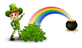 Free Cartoon Girl Leprechaun Standing Near The Rainbow With Pot Full Of Golden Coins And Clovers Stock Image - 89188351