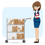Cartoon girl librarian with book trolley Royalty Free Stock Image