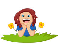 Cartoon girl lie down with flower. Illustration of Cartoon girl lie down with flower Royalty Free Stock Images