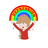 Cartoon girl. Little cartoon cheerful girl, rainbow and the inscription depression on a white background. Vector. Illustration for printing on T-shirts Stock Images