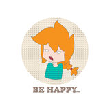 Cartoon girl. Little funny cartoon sad girl and sign be happy on a white background. Vector. Illustration for printing on T-shirts, postcards, posters, business Royalty Free Stock Photos