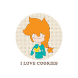 Cartoon girl. Little funny cartoon girl and the words I love cookies on a white background. Vector. Illustration for printing on T-shirts, postcards, posters Stock Photography