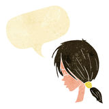 Cartoon girl looking thoughtful with speech bubble Stock Photo