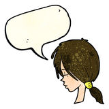 Cartoon girl looking thoughtful with speech bubble Royalty Free Stock Photos