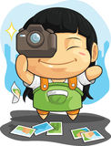 Cartoon of Girl Loves Photography Royalty Free Stock Image