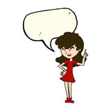 Cartoon girl making point with speech bubble Stock Image
