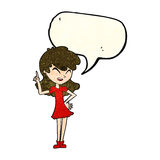 Cartoon girl making point with speech bubble Stock Photography