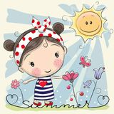 Cartoon Girl on the meadow with flowers. Cute Cartoon Girl on the meadow with flowers royalty free illustration