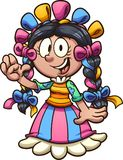 Cartoon girl with Mexican dress Royalty Free Stock Photos