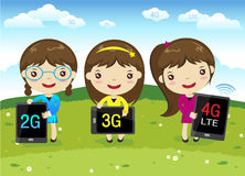 Cartoon girl with mobile phone. Cartoon happy girls show Smart Phone on grass - 4g, 3g communication technology Stock Photography