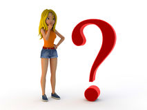 Cartoon girl and question mark Stock Photography