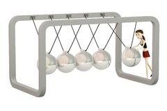 Cartoon girl with newton cradle Stock Photo