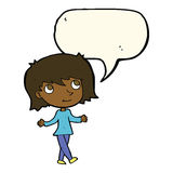 Cartoon girl with no worries with speech bubble Stock Photography