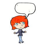 Cartoon girl with no worries with speech bubble Stock Image