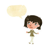Cartoon girl with no worries with speech bubble Royalty Free Stock Photo