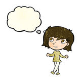 Cartoon girl with no worries with thought bubble Royalty Free Stock Images