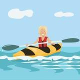Cartoon girl paddling a kayak Stock Photos