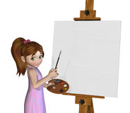 Cartoon Girl Painting Stock Photography