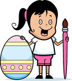 Cartoon Girl Painting Easter Egg Stock Images