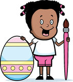 Cartoon Girl Painting Easter Egg Royalty Free Stock Photography