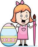 Cartoon Girl Painting Easter Egg Stock Photos