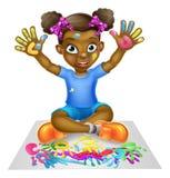 Cartoon Girl Painting Royalty Free Stock Photography