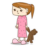 Cartoon girl in pajamas dress with her teddy. Vector Royalty Free Stock Photo