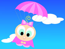 Cartoon girl with parachute Royalty Free Stock Photo