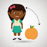cartoon girl peach fruit Stock Photo