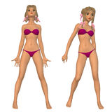 Cartoon girl in pink bikini Stock Photo