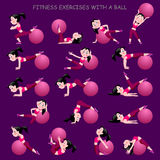 Cartoon girl in pink suit doing fitness exercises with a ball is Stock Photo