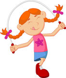 Cartoon girl play jump rope Stock Images