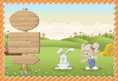 Cartoon girl playing with a bunny on a green park. Royalty Free Stock Photo