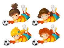 Cartoon girl playing football - sport activity Royalty Free Stock Image