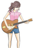 Cartoon girl playing guitar in isolated background Royalty Free Stock Photo
