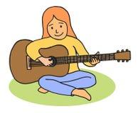 Cartoon girl playing guitar Stock Photos