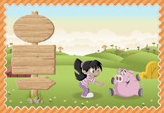 Cartoon girl playing with a pig on a green park. Stock Images