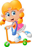 Cartoon girl playing scooter Stock Images