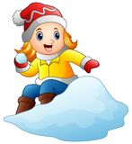 Cartoon girl playing snowboard with a snow. Illustration of Cartoon girl playing snowboard with a snow Royalty Free Stock Image