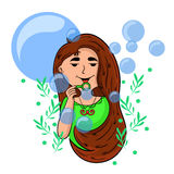 Cartoon girl playing with soap bubbles. stock images