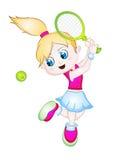 Cartoon Girl Playing Tennis. vector illustration