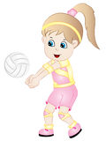 Cartoon Girl Playing Volleyball royalty free illustration