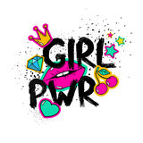Cartoon Girl Power Feminist Slogan. Feminism slogan with hand drawn lettering girl power. Colorful fun girly stickers, patches, pins in cartoon 80s-90s comic Royalty Free Stock Image