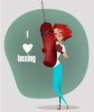 Cartoon girl with punching bag. Cartoon cute girl with punching bag stock illustration